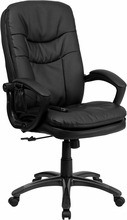 HIGH BACK MASSAGING BLACK LEATHER EXECUTIVE SWIVEL OFFICE CHAIR